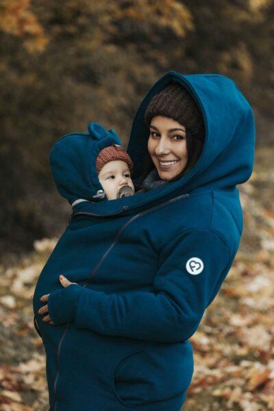 Fun2bemum baywearing maternity cotton coat Kaya petrol plaszcz ciazowy do noszenia dzieci 14